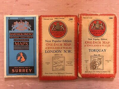 Ordnance Survery & Bartholomew's maps Torquay London NW Surrey