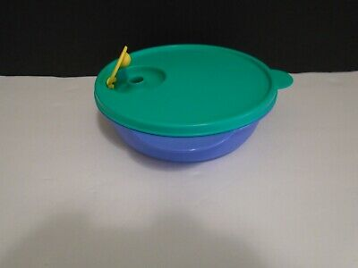 Tupperware Microwave Blue Divided Bowl 3859 Vented Island Green Lid