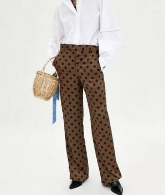 c934ad4c ZARA WIDE LEG Trousers With Contrasting Frills Size Medium Ref 8729 ...