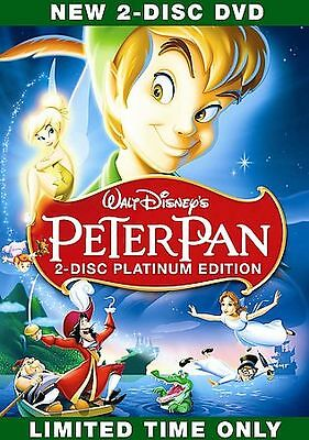 Peter Pan (DVD, 2007, 2-Disc Set, Platinum Edition) W/SLIPCOVER, VG-SHAPE