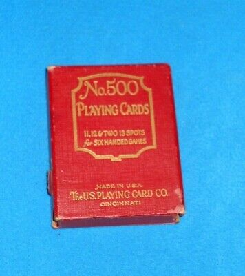 """Vintage No. 500 Playing Cards featuring """"Good Luck"""" Swastika Pattern Back - RARE"""