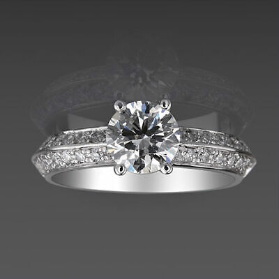 Vs D Colorless Natural 1.35 Carat Solitaire Accented Diamond Ring 18K White Gold