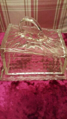 Vintage Glass Butter dish & tray Large & Heavy 20cm x 16cm Good condition.