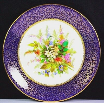 ANTIQUE ROYAL WORCESTER HAND PAINTED FLOWER GROUP PLATE Circa 1878