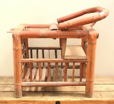 Antique Japanese Signed Bamboo Childs Nursery Baby Chair