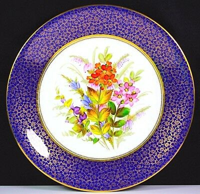 ANTIQUE ROYAL WORCESTER HAND PAINTED FLOWER GROUP PLATE GOLD GILDED BORDER c1878