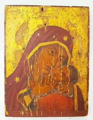 Antique 19th C Russian Hand Painted Icon of the Korsun-Ephesus Mother of God
