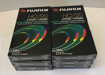 NEW SEALED FujiFilm HQ120 VHS Tapes 6 Hours Blank Recording Lot of 6