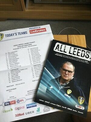 Leeds United v Derby Matchday Prog & Team Sheet - PlayOff - 15  May 2019