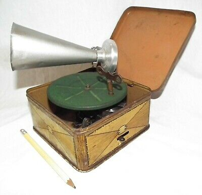Rare Bing Toy Pigmyphone 78 Rpm Phonograph Gramophone Lithograph Record Player