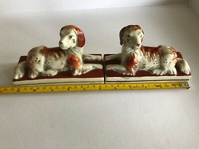 Rare`Antique PAIR  recumbent laying Victorian Staffordshire Dogs Ca. 1850's