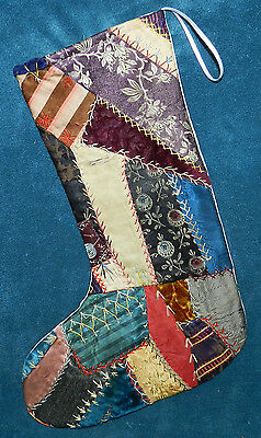 Awesome Antique Vintage Crazy Quilt Christmas Stocking! Cutter Quilt Cq21