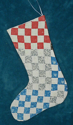 Awesome Primitive Antique Vintage Cutter Quilt Christmas Stocking! Only 2! 17-26