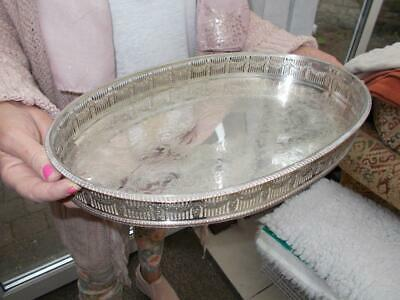 Silver Plated Sheffield Made Tray Nice Ornate Gallery Gadrooned Edges