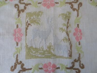 Antique Natural Linen Embroidered Pillow Cover Crochet Trim