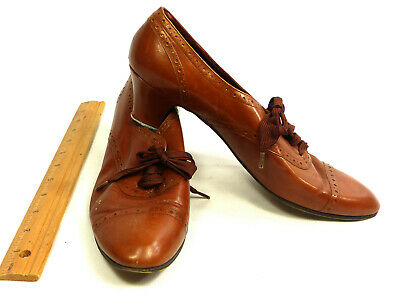 Womens 1980s Perry Ellis Vtg Brown Leather 1930s Style Deco Shoes 9