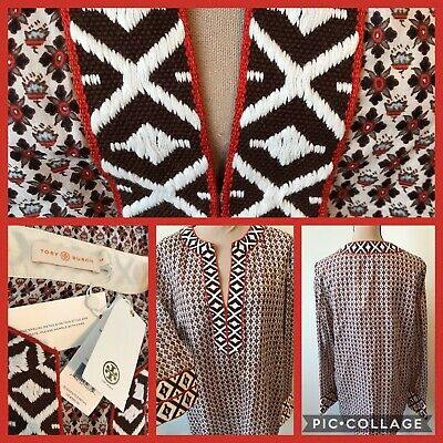 929990db947 NWT Size 14 $350 Tory Burch Tunic Embroidered Ivory Brent Brown XL