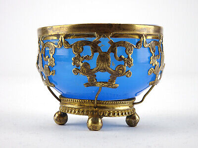 Antique Palais Royal Blue Opaline Trinket Glass Dish Bowl - French 19th Century
