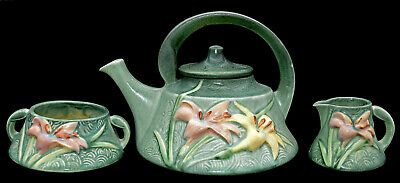 Roseville Pottery Zephyr Lily Vintage 1940s Green Teapot / Sugar and Creamer