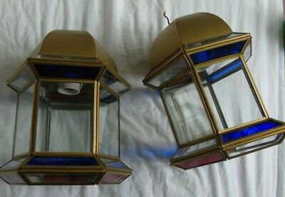 Stained Glass Leaded Copper Brass Lantern Lamp Shade Light 2 Red Blue