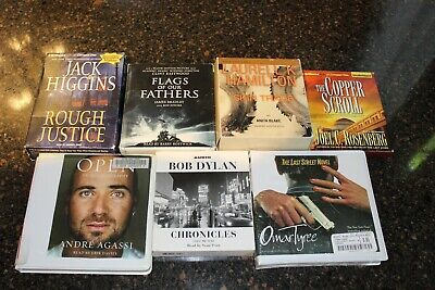 Lot of 7 CD Audio Books Bob Dylan, Flag of our Fathers, Skin Trade, Jack Higgins