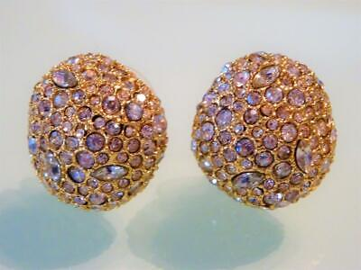 Alexis Bittar Gorgeous Gold Dome Nugget Glass Crystal Encrusted Big 3-D Earrings