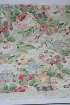 Vintage Floral Tablecloth Fabric 53 x 57 Shabby Cottage Chic Roses Fringe B12
