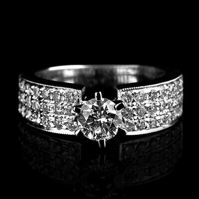 2.3 Carat Natural Solitaire Accented Diamond 14K White Gold Engagement Ring Nib