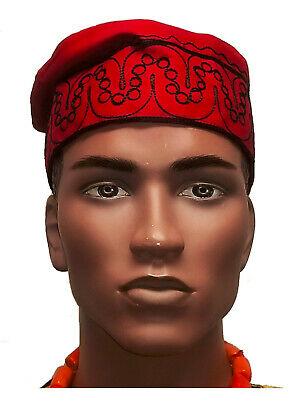 African Red Kufi Hat with Black Embroidery