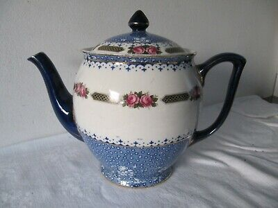 Wedgwood Imperial Porcelain Vintage Blue & White, Pink Roses Teapot A/F