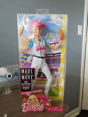 Barbie Made to Move Baseball Player Doll Light Damage/ Unopened Box
