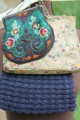 Lot of three antique, vintage purses, knit, beaded, woven, ornate frames, AS IS