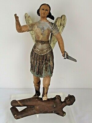 Antique.Polychrome Carved Wood Statue of Saint Michael Slaying the Devil