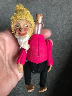 "EARLY RARE ANTIQUE MINIATURE 5"" MOHAIR & Felt SCHUCO Perfume Elf Gnome NICE NR"
