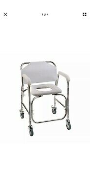 DMI Rolling Shower Transport Chair with Padded Toilet Seat White #522-1702-1900