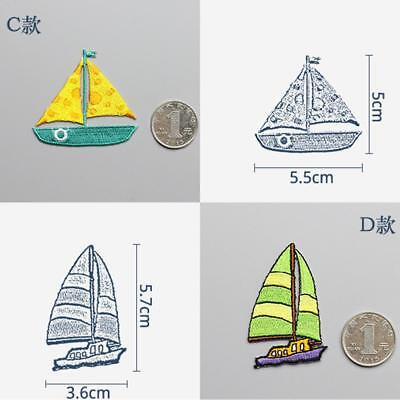 1Pc Sailboat Patch Ocean Ship Nautical Embroidered Applique Patches Decor JJ