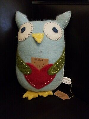 Wool Blue Owl Tooth Fairy Pillow with Heart Pocket by Creative Co-op NWT