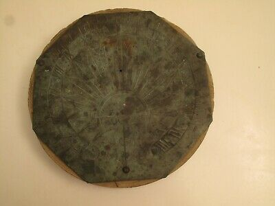 Antique F.h. Grey Sundial Bronze Mounted On Old  Mill Stone, 1905 ,  Table Top