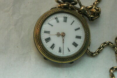 Vintage Antique Dragon Engraved Locket Pocket Watch with Gold Chain