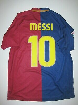 the latest 65eca b84d7 2008-2009 NIKE FC Barcelona Lionel Messi Home Kit Jersey Short Sleeve Shirt