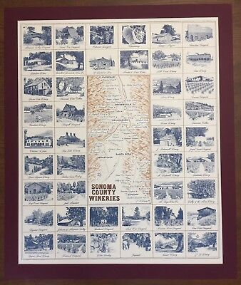 rare Sonoma County CA California Wineries Large Poster Matted Wine Vineyard