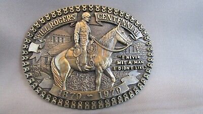 Rare WILL ROGERS Western Brass Belt Buckle Limited Edition #rd MINT Condition