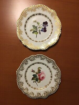 "Pair Of Antique Chamberlains 8 3/4"" Plates Painted Floral Design Royal Worcester"