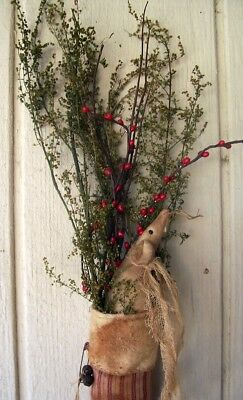 Primitive Christmas  Mouse Art Doll Lg Stocking  Door Greeter Sweet Annie Floral