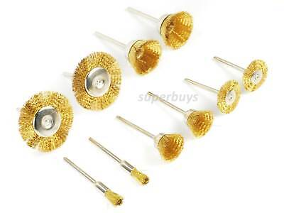 10pcs Brass Steel Wire Brush Wheel Flat Cone Cup Polishing Descaling Cleaning