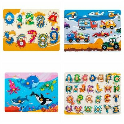 Wooden Peg Puzzle Number Alphabet Learning Preschool Toys for Toddlers Baby Kids
