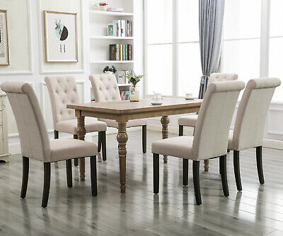 2X  Aristocratic Stylish Tufted Upholstered Fabric Dining Chairs w/ Nailhead