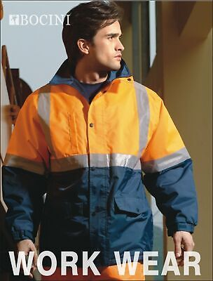 Hi-Vis Polar Fleece Lined Safety Jacket With Reflective Tape Windproof Work Wear