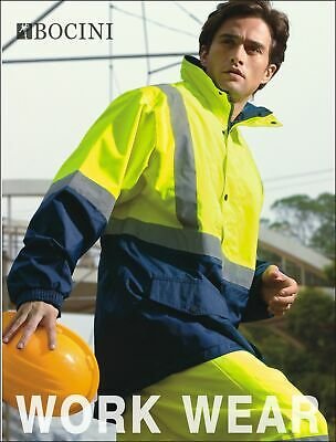 Hi-Vis Mesh Lined Safety Jacket With Reflective Tape Windproof Work Wear