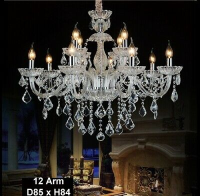 Antique European Italian French CHANDELIER K9 Crystal Clear Silver 12 ARM Lite